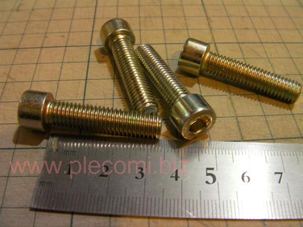 六角 M8 35mm P1.25 細めピッチ ネジ部分35mm長さ  キャリパー用などに クロームメッキ
