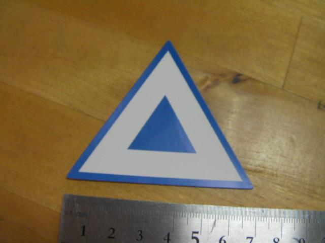 原付2種 三角 シール  7cm  薄型 中国社外  青